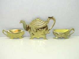 Vintage HOMCO Brass Textured Teapot & Teacups Wall Hangings Set Of 3 - $17.82