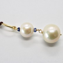 SOLID 18K YELLOW GOLD PENDANT WITH 2 WHITE FW PEARL AND SAPPHIRE MADE IN ITALY image 2