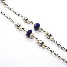 925 Silver Necklace, Lapis Lazuli Blue Disk, Pearls, Pendant Drop image 4
