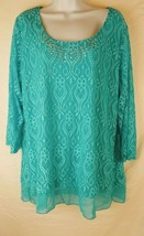 JM Collection Turquoise Lace Overly Shirt Blouse - 3/4 Sleeve - Size 2X - $15.85