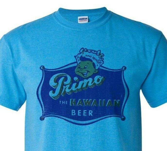 Primo Hawaiian Beer T-shirt Distressed Vintage Label retro heather blue tee