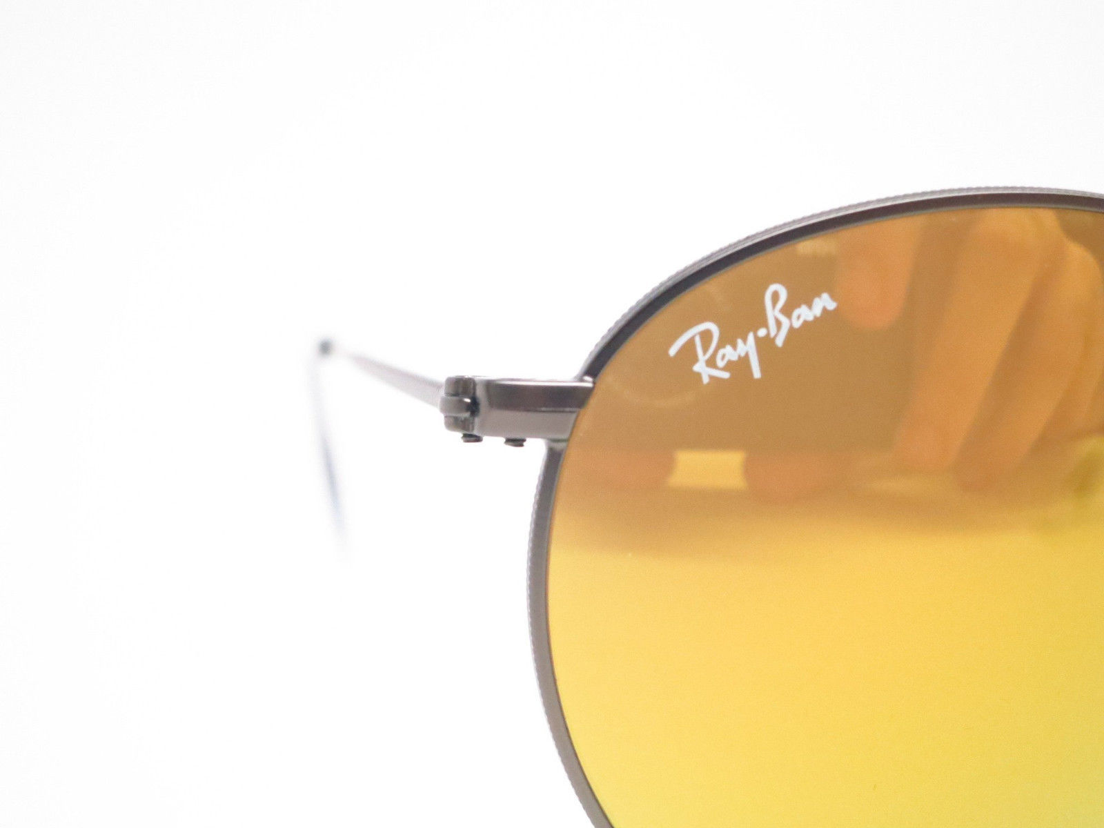 Neu Ray Ban Runde Metall RB 3447 029/93 Matt Gunmetal W / Gold Spiegel 50mm