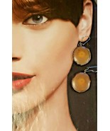 Pair of Vintage Earrings Petrified Wood Slices with 14K Hooks - $46.55