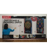 MAJIK OVERSIZED 2-IN-1 DART BOARD & BASEBALL DARTS FAMILY GAME MULTIPLE ... - $14.69
