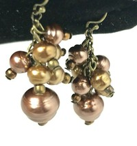 Metallic Copper Gold Tone Beige Faux Pearl Grape Cluster Dangle Pierced ... - $8.11