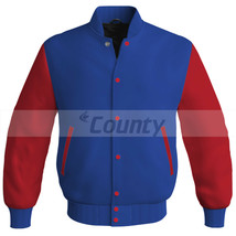 Letterman Super Baseball College Bomber Jacket Sports Royal Blue Red Satin - $49.98+