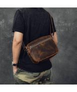 On Sale, Horse Leather Men Messenger Bag, Men Crossbody Bag, Vintage Sho... - $145.00