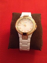 Guess Status In The Round - Women's Watch. Rose Gold. Silicone Strap. With Pouch - $60.00