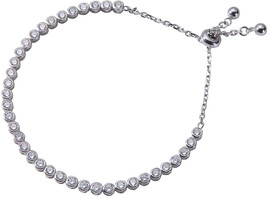 Jenna Hunter Rhodium and CZ Adjustable Tennis Bracelet - Fashionable and... - $258.67