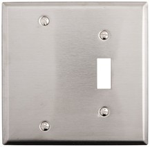 Morris 83410 430 Wall Plate, 2 Gang with 1 Blank, 1 Toggle, Stainless Steel - $10.12