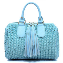 Handbag REPUBLIC® Quilted Boston Satchel w/ Fringe Pulls + Strap-Ostrich... - $55.90