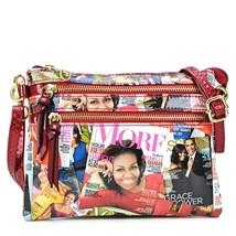 Red Michelle Obama Magazine Printed Messenger Bag - MOD 6052 - $49.99