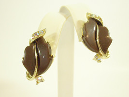Lisner Cocoa Brown Thermoset AB Rhinestone Gold Plate Screwback Earrings... - $15.79