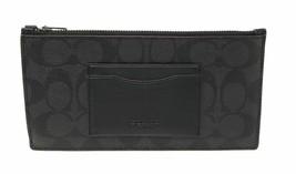 NWT COACH Zip Phone Wallet Clutch Case Signature Canvas Black Oxblood F4... - $54.45