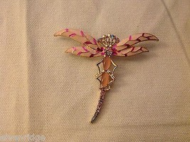 Rhinestone Pink Dragonfly pin new but vintage looking brooch