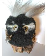 Owl figure Fuzzy Furry OOAK Bird on Wood base Handmade Unique Animal dis... - $45.00