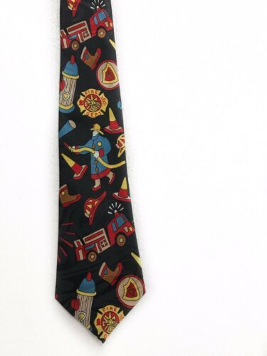 Fratello Firefighter Fire Truck Hydrant Vintage Novelty Tie Necktie Mens  image 3