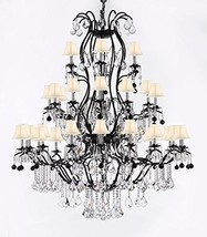 Large Wrought Iron Chandelier Chandeliers Lighting with Jet Black Crysta... - $1,651.03
