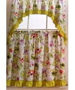 "3 pc Curtains Set: 2 Tiers & Swag (60"" x 56"") BUTTERFLIES & FLOWERS, NAH... - $16.82"