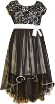 Bonnie Jean Little Girl 2T-6X Black/white Velvet Lace To Mesh Overlay High Low S