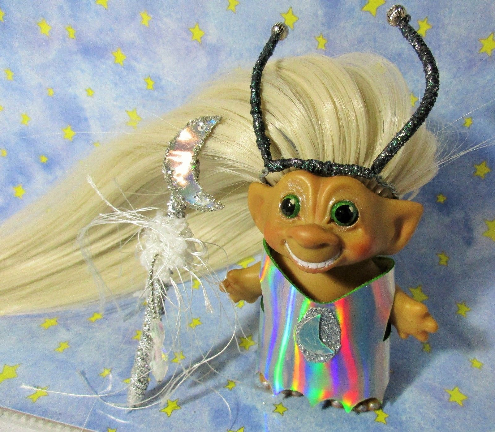 SMILING ROOTIE 3-IN Custom Troll Doll rooted vintage 60s Martian Moon Wand Alien image 4