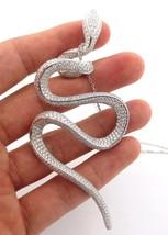 Diamant Fin Serpent Serti Collier 18K or Blanc 9.76CT - $14,199.02