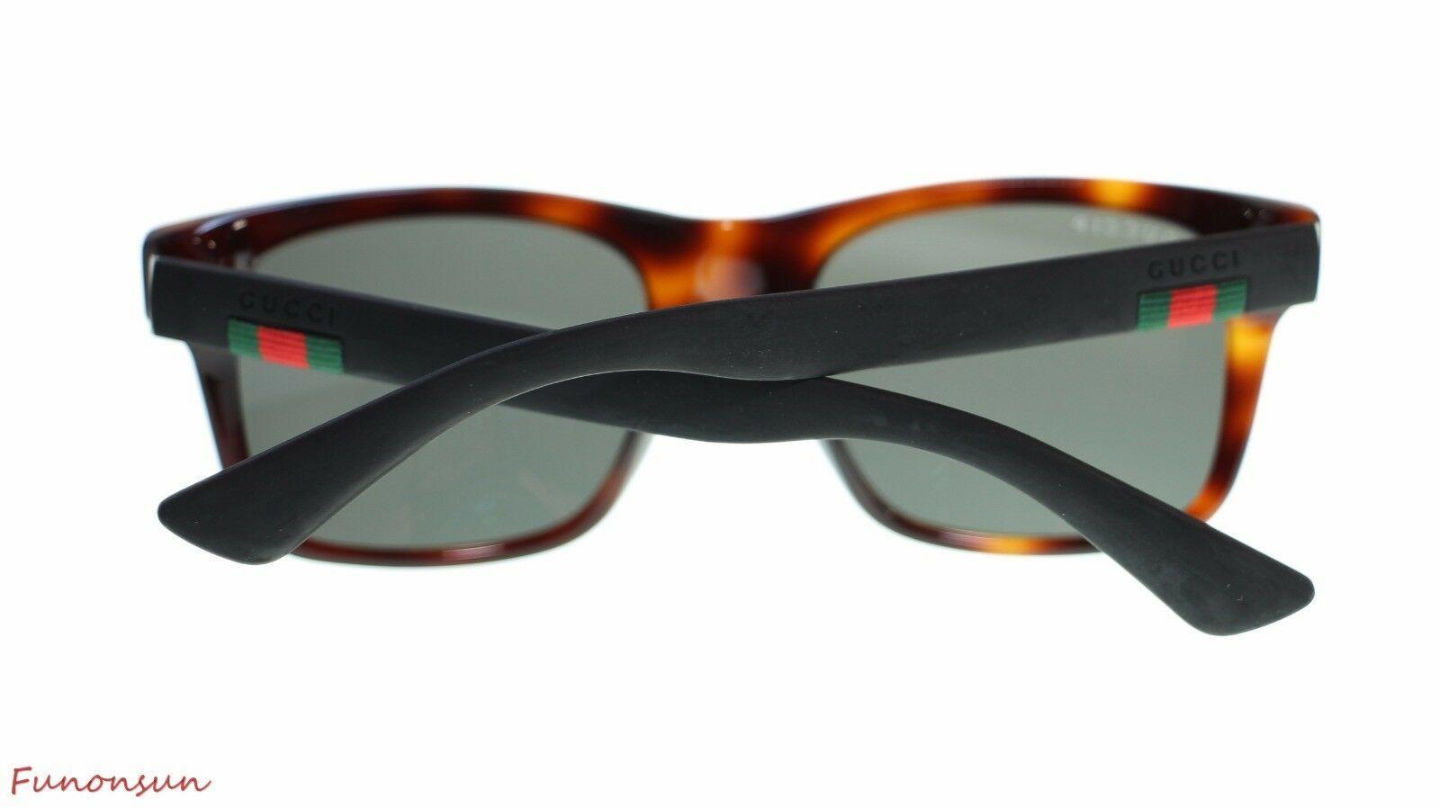 94b92a891a76e Gucci Men Square Sunglasses GG0008S 006 Havana Black Grey Lens 53mm  Authentic