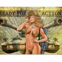 Ready for Action Army pin Up Girl Metal Sign - $29.95