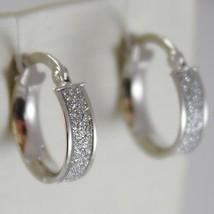 Boucles D'Oreilles or Blanc 750 18K À Cercle, Diamètre 1.4 CM, Effet Glitter image 1