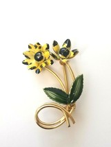 Vintage Enamel Flower Brooch Pin Gold Tone Flowers Stem Leaves Yellow Gr... - $12.87