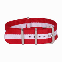 20mm X 255mm Nato Canvas Nylon wrist watch Band strap WHITE RED QII - $14.22