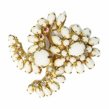 Vintage White Milk Glass Rhinestone Crystal 1950's - 60's Brooch Pin Gold Tone - $85.36