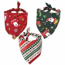 TOPTOTN 3 Pack Christmas Costume Dog Bandana Triangle Scarf Pet Cat Bandanas for