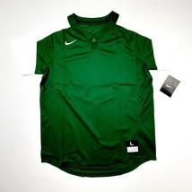 Nike Dri-fit Boys Baseball Jersey Shirt Size Large Green White SR9 - $12.37