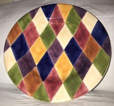 "Tabletops Harlequin Multicolor Diamond Rimmed Vegetable Pasta Serving Bowl 13"" - $16.82"