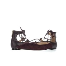 Sam Edelman Rosie Pointed Toe Lace Up Ballet Flats 153, Wine Suede, 6.5 ... - $58.55
