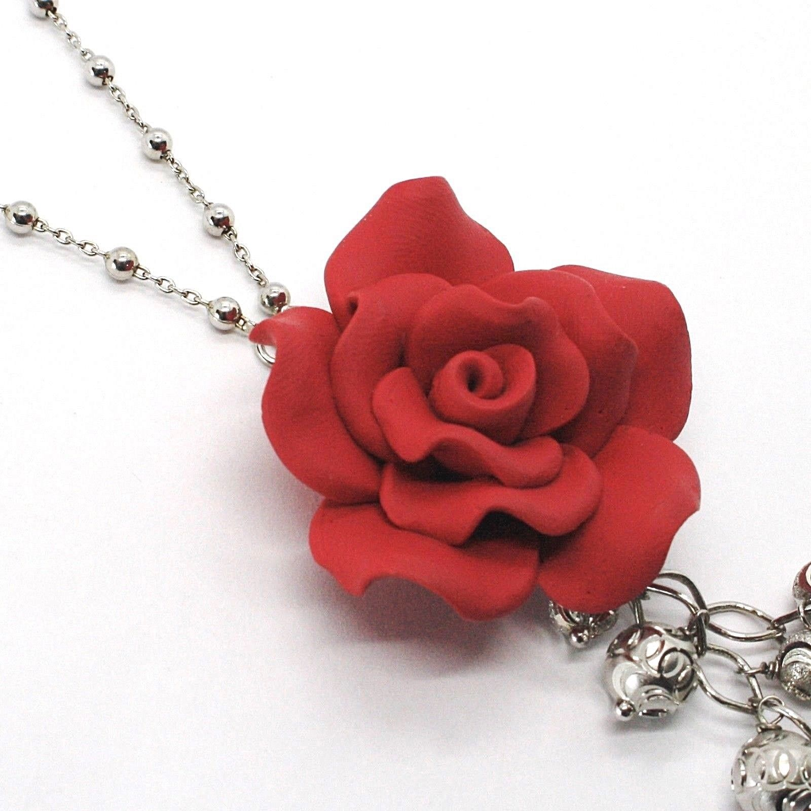 SILVER 925 NECKLACE, ONYX BLACK, PINK RED, FLOWER, CHAIN BALLS