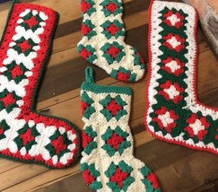 4 Vintage Christmas Stocking Crocheted Granny Square Hand-Made Stockings... - $34.64