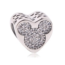 Couqcy 925 Sterling Silver Love Heart Mickey Beads Fit Original Pandora ... - $8.57