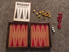 "Vintage Wooden Backgammon Travel Case Board Game Set, 6.25"" X 5.25"" - $25.99"