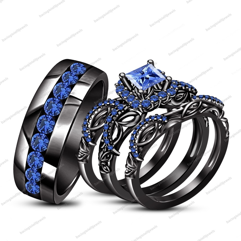 His & Her Wedding Ring Set 14k Black Gold FN Princess Blue Sapphire & Free Gift