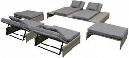 Rattan Outdoor Patio Clearance Furniture Recliner Lounge Day Bed Set Pat... - $1,281.83