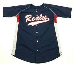 VINTAGE Los Reales Softball Baseball Jersey Size Large Blue Button Up Th... - $27.33
