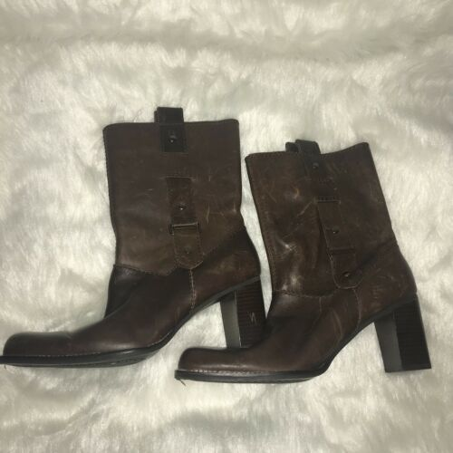 "Primary image for What's What Aerosoles ""Easy Rider"" Women's 9M Brown Leather Harness Boots Biker"