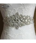Kyunovia Crystal Wedding Accessories Satin Wedding Dress Belt Bridal Rib... - £8.48 GBP