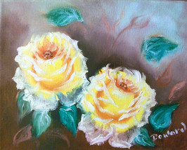 "Original 8x10"" Yellow Roses Canvas Wall Art :- ... - $16.83"