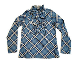 Ralph Lauren Jeans Co. Ruffle Neck Blouse Shirt Blue Plaid 100% Cotton S... - $23.75
