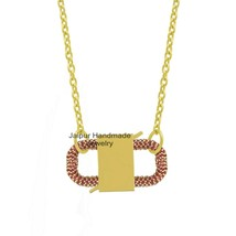 14k Gold Plated Padlock pendant Necklace Padlock Connector Necklace Jewe... - $361.55