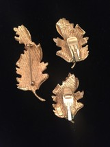 Vintage Hope Chest gold leaf brooch and clip on earrings set image 2