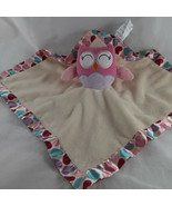 """Owl Security Blanket Circo Baby Lovey Pink and Blue Polka Dots 14"""" x 13"""" - $7.91"""